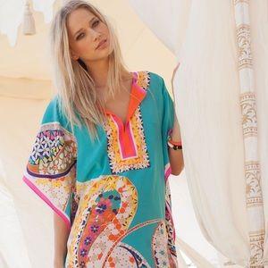 Trina Turk Theodora Silk Kaftan Caftan Dress XS S